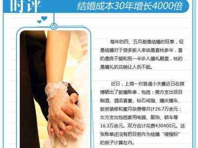 中国结婚成本30年 80后晒巨额婚礼30年成本增4000倍
